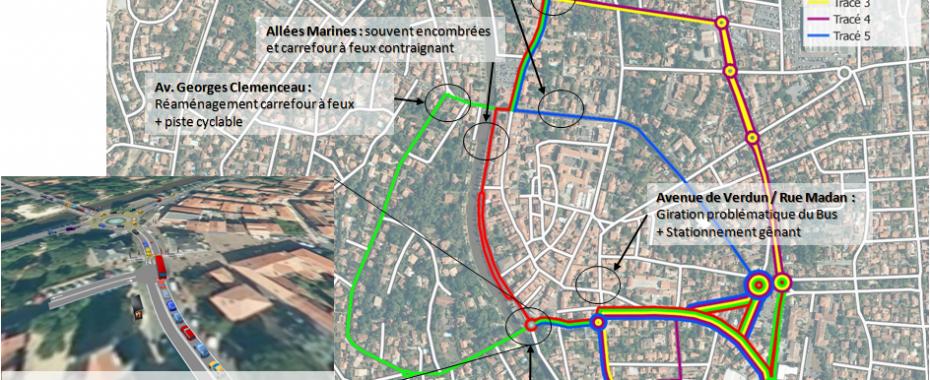 Insertion urbaine du bus-differents itineraires